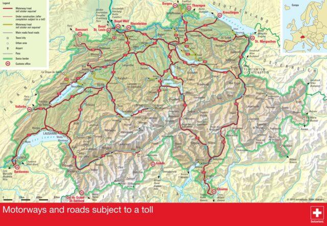 Winiety w Szwajcarii 2016 - mapa dróg płatnych