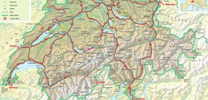 Winiety w Szwajcarii 2015 - mapa dróg płatnych