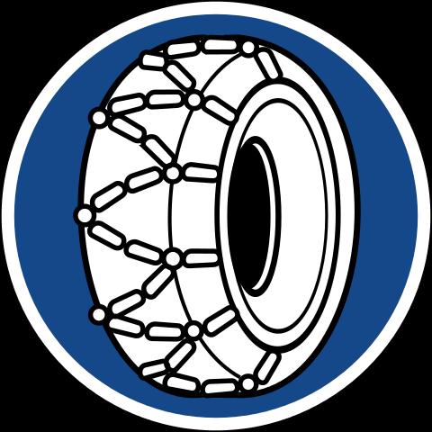 Znak C18 nakazujący użycie łańcuchów śniegowych.