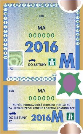 Winiety w Czechach - wzór winiety miesięcznej na rok 2016.