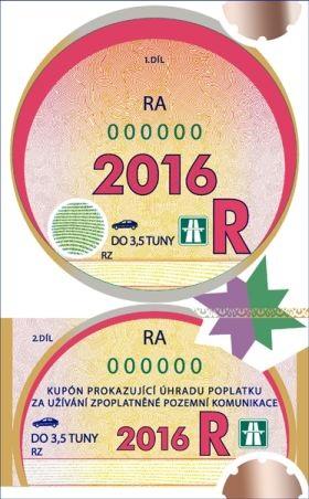 Winiety w Czechach - wzór winiety rocznej na rok 2016.