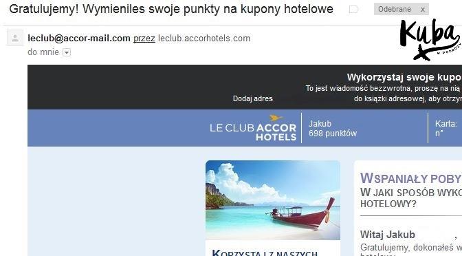 Le Club AccorHotels - informacja o zamówionych kuponach.