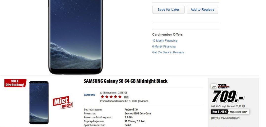 Samsung S8 - porównanie cen w USA z cenami w Europie