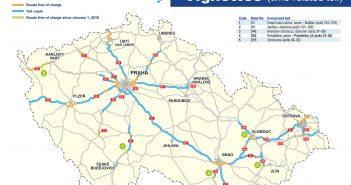 Winiety w Czechach 2018 - mapa dróg płatnych