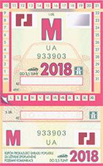 Winiety w Czechach 2018 - wzór winiety miesięcznej