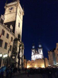 Praga Rynek Zegar praski nocą