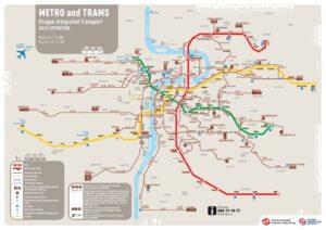 Plan metra, tramwai - komunikacji miejskiej w Pradze.