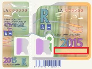 Winiety w Czechach - miejsce na numer rejestracyjny (oznaczone kolorem czerwonym).