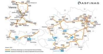 Winiety w Austrii 2015 - mapa dróg płatnych