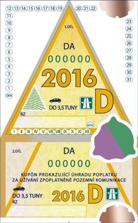 Winiety w Czechach - wzór winiety 10-dniowej na rok 2016.