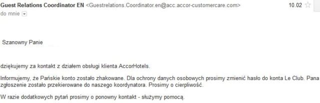 AccorHotels - mail od Guest Relations Coordinator.