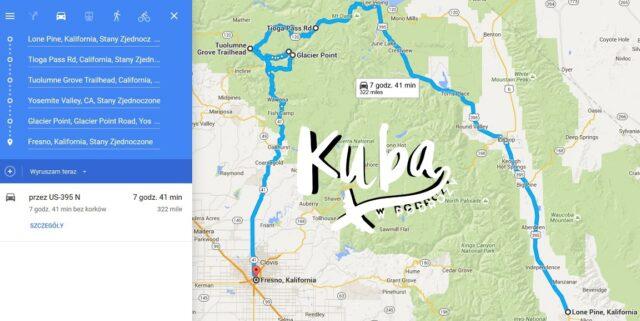 Lone Pine - Yosemite Valley - Fresno