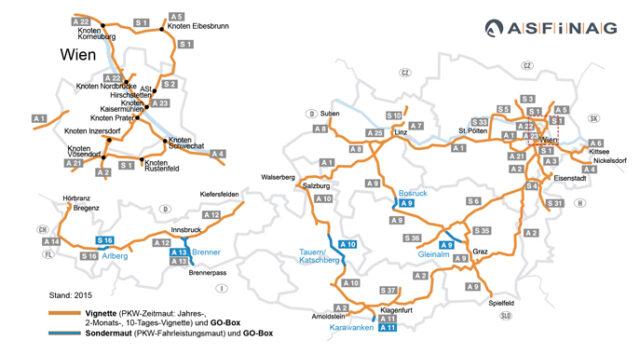 Winiety w Austrii 2016 - mapa dróg płatnych