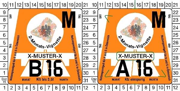 Winiety w Austrii 2016 - wzory winiet dwumiesięcznych