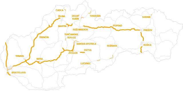 Winiety w Słowacji 2016 - mapa dróg płatnych