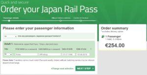 Kupno JR Pass - krok 2