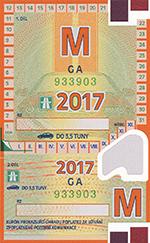 Winiety w Czechach 2017 - wzór winiety miesięcznej