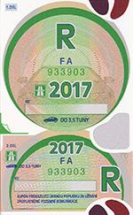 Winiety w Czechach 2017 - wzór winiety rocznej