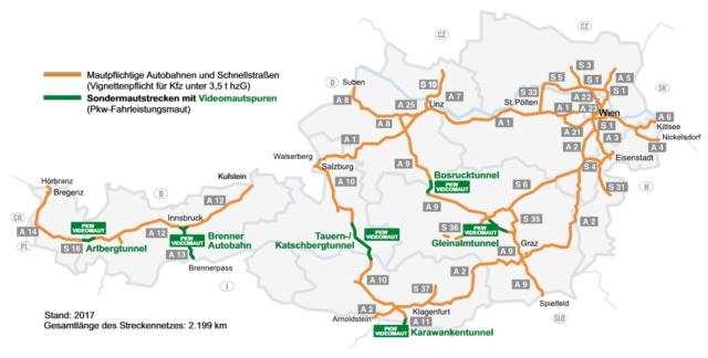 Winiety w Austrii 2017 - mapa dróg płatnych ©asfinag.at